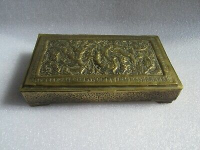 Antique 19C Persian Islamic Handmade Engraved Hammered Solid Brass Peacock Box