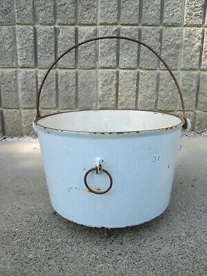 RARE Antique 1800's Gate Mark Enameled Cast Iron Footed Dutch Oven