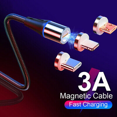 360° Fast LED Magnetic Charger Micro USB 3A Charging Cable For IOS Android TypeC