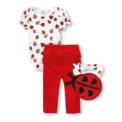 NWT The Childrens Place Ladybug Baby Girls Bodysuit Leggings Bib Outfit Set