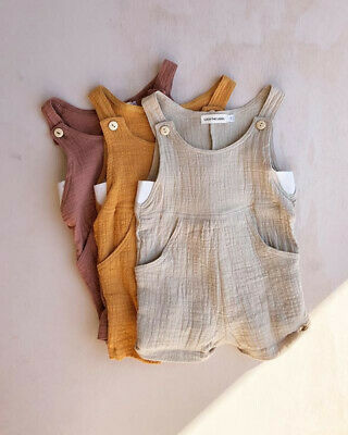 AU Toddler Baby Boy Girl Clothes Romper Cotton linen Overalls Jumpsuit Ouftit