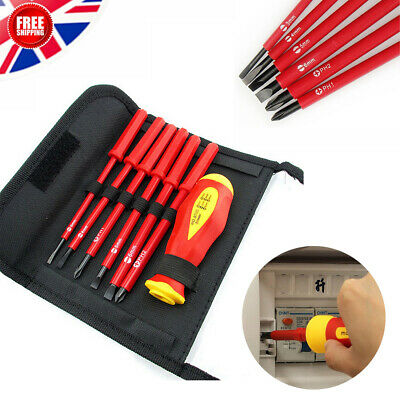 Fully Insulated 7PCS 1000V Interchangeable SL PH Electricians Screwdriver Set