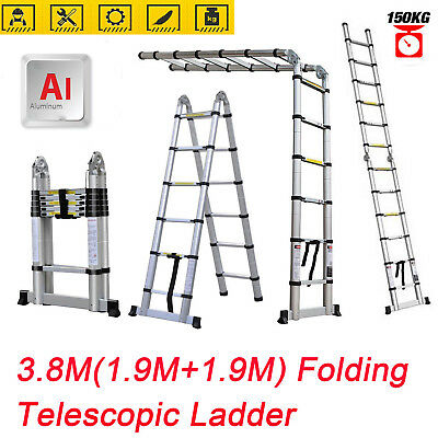 Heavy Duty 3.8M Multi-Purpose Aluminium Telescopic Folding Ladder Extendable