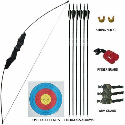 Outdoor 35lbs Archery Straight Bow Hunting Takedown Target Longbow Arrows Set