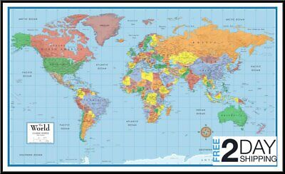 Laminated World Map Poster Home Office School Wall Map Classic Huge Large 24X36