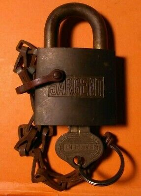 Vintage SARGENT Brass PADLOCK and Chain with WORKING ORIGINAL KEY >FAST SHIPPING