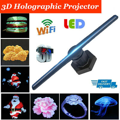 3D HD LED Holographic Display Projector Hologram Player Fan Advertising Lamp 8GB