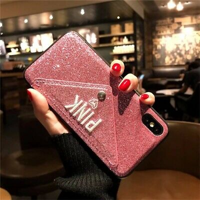 Bling Glitter Leather Case TPU Card Holder Cover For i Phone 8 6s Plus XS MAX XR