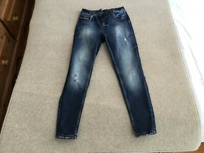 River  Island Blue  Skinny Mid Rise Distressed Jeans Sze 8 Leg 28