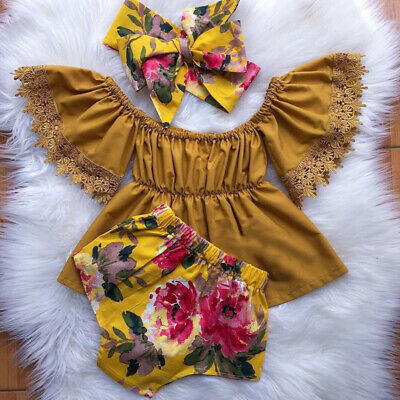 AU 3PCS Newborn Baby Girl Clothes Off-Shoulder Tops Dress Floral Shorts Outfit