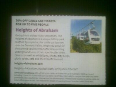 Heights of abraham matlock voucher inc cable car 20% off up to 5 people save £18