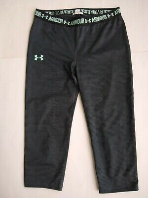 Under Armour Girls Heatgear Printed Grey Capri Leggings Youth L 14-16 1271020