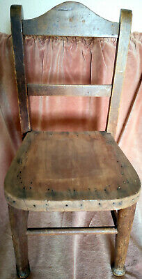 """Delightful Antique Small Wooden Chair For Child/Teddy/Doll-18"""" Tall/9""""Wide-Sound"""