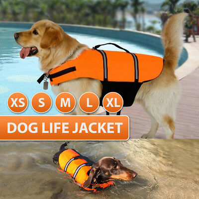 USA Pet Safety Vest Dog Life Jacket Reflective Stripe Preserver Puppy Swimming~