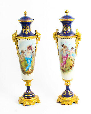 Pair Sevres Style Painted Royal Blue Porcelain Vases