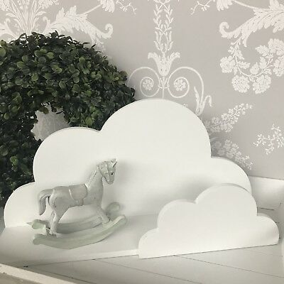 Matt White Cloud Shelf With Star Coat Hooks 40 Cm Nursery