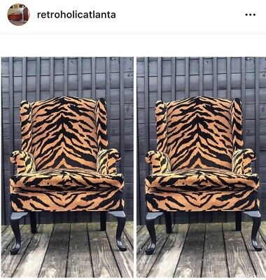 Pair of Queen Anne Animal Tiger Print Upholstered Wingback Chairs, 20th Century