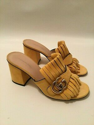 20ad863c3 GUCCI 'MARMONT' PINK Suede 75MM Sandal Heel Sz. 37 $730.00 - $380.00 ...