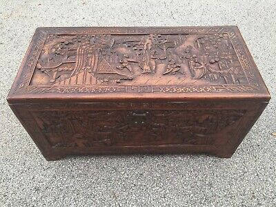 Vintage Oriental Cedar Wood Trunk Chest Hand Carve Asian Antique w/ Tray