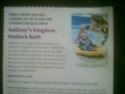 Gullivers kingdom Matlock voucher Family entry for £59 saving up to £46 for 5