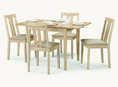RUFFORD Natural Wood Extending Dining Set with 4 Chairs