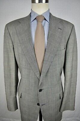 Jos. A. Bank Light Gray Glen Check Worsted Wool Two Button Two Pc Suit Size: 44L