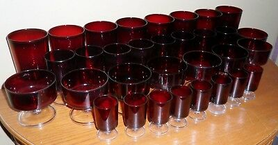 Vintage Huge LOT of 32 Luminarc ARCOROC Ruby RED Glasses of Various Sizes~FRANCE