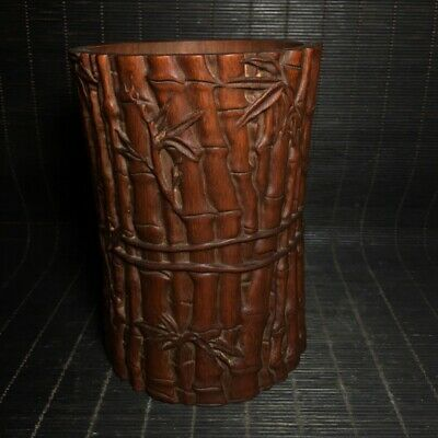 """4"""" Chinese old antique wood bamboo Hand carved Brush Pot Pen container"""