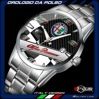 Orologio da polso Alfa Romeo Racing checkered stainless watch Silver GTA montre