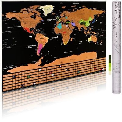 Large size Travel Tracker Scratch Off World Map Poster Country Flag Scratch Map