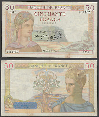 France 50 Francs 1940 (F-VF) Condition Banknote P-85b