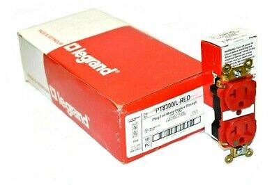 [Box of 10] Pass & Seymour Legrand PT8300IL-RED PlugTail Illuminated Receptacle