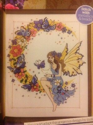 (E) Floral Fantasy Butterfly And Moon Flower Fairy Cross Stitch Chart