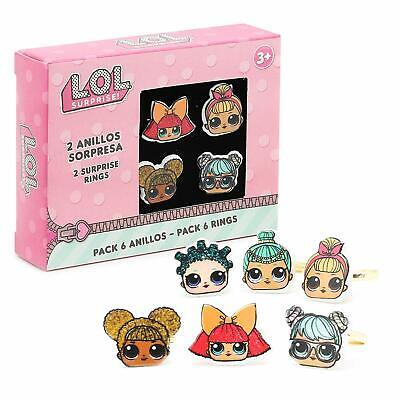 LOL Surprise! Pack Of 6 Adjustable Rings For Girls Featuring Her Favourite Dolls