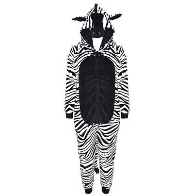 Girls Kids Zebra Soft Fleece Onesie Fancy Dress Pyjamas Age 6 7 8 9 10 11 12 13
