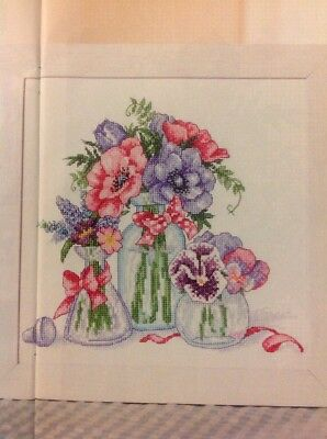 (E) Pick Of The Posies Vase Of Anemones Flowers Mothers Day Cross Stitch Chart