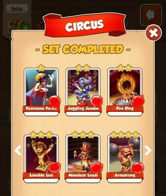 Coin Master Circus Full set includes Fire Ring & Armstrong. 6 Cards