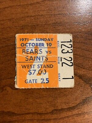 Vintage 1971 Chicago Bears vs New Orleans Saints Ticket Soldier Field