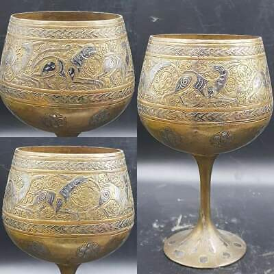 Lovely Seljuk Antique Wonderful Silver inlaid Unique Drink Cup