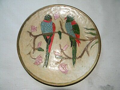 "Hand-painted enamel painted brass 73/4"" plate with parrots made in India"