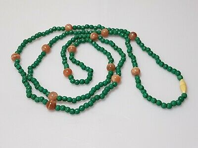 A Qing Dynasty Green Peking Glass & Pink Quartz Necklace.