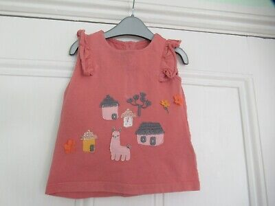 9-12m: Cute rust sleeveless summer top: Applique LLAMA: M&S: Good condition