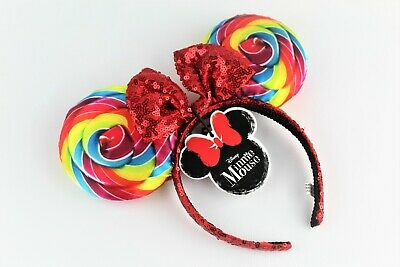 Disney Minnie Mouse Lollipop Candy Swirl/Red Sequin Headband/Ears!  Brand NEW!