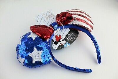 Disney Minnie Mouse 4th of July Americana Red/White/Blue Sequin Ears/Headband!