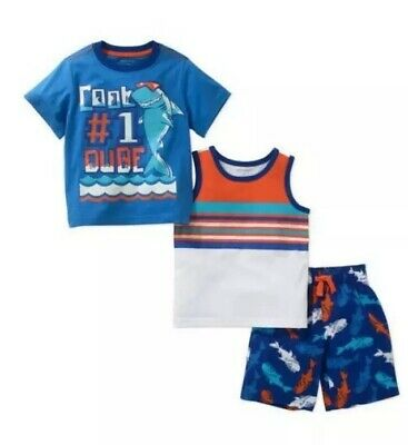 Healthtex Toddler Boys Tee Tank & Shorts Outfit Set Size 2T Blue