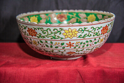"""Beautiful Antique Chinese Five-Color Glaze Punch Bowl 12.25"""" Wide. Ming Style"""