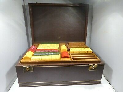 Incredible Art Deco Style  Leather Clad Bakelite Gaming Chest