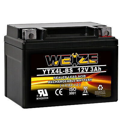 Weize YTX4L-BS Rechargeable YT4L-12 Ctx4L BS Sealed AGM Honda Motorcycle Battery