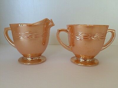 Vintage Fire King Creamer Suger Bowl Set Peach Lustre Made In USA
