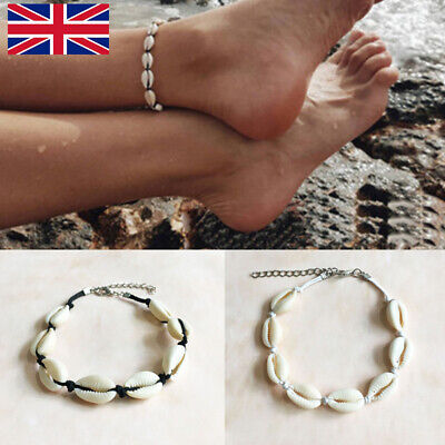 Boho Ankle Anklet Bracelet Natural Cowrie Sea Shell Beach Wax String Handcraft